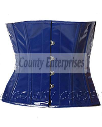 Serre-taille Shaper Corset taillen Full acier baleiné waistbust Bleu PVC vinyle corset