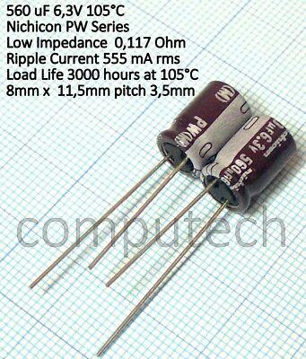 life 5000 ore 4 pezzi Condensatore 100uF 50V 105°C Nichicon PW Bassa Impedenza