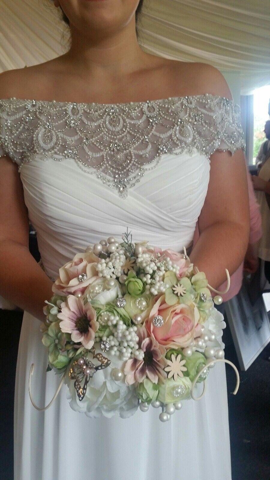 Alternative Mariées Mariage bouquet, fleurs de soie, la plupart des couleurs, perles & butterflys