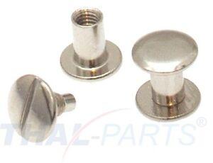10-Stueck-Buchschrauben-Chicagoschrauben-8mm-Kopf-10mm-Silbern-Buchschraube