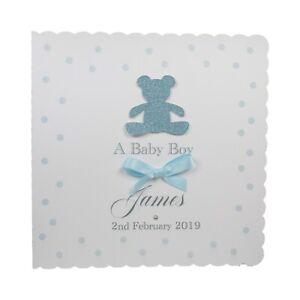 New-Baby-Boy-Card-Glitter-Teddy-Personalised-Choice-of-Envelope-Handmade