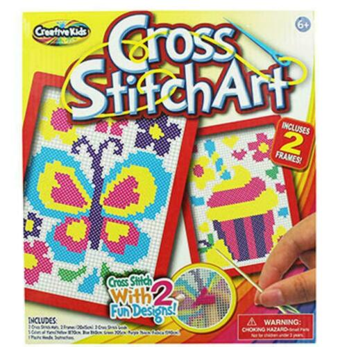 NEW CROSS STITCH ART SET 2 FUN DESIGNS FRAMES YARNS CREATIVE ART KIDS SET