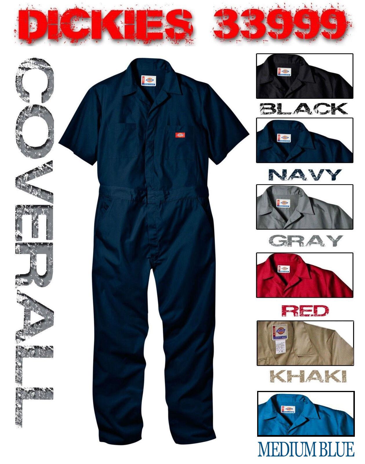 NEW DICKIES 33999 COVERALLS SHORT SLEEVE MENS BLACK NAVY GREY RED KHAKI
