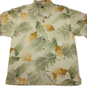 Tommy-Bahama-Men-039-s-XL-Tan-Hawaiian-Camp-Silk-Short-Sleeve-Button-Front-Shirt