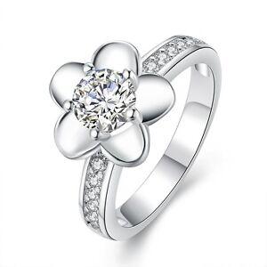 SILVER-Flower-MEDIUM-FEMMES-Nuptial-mariage-diametre-de-l-039-anneau-17-mm-taille-O