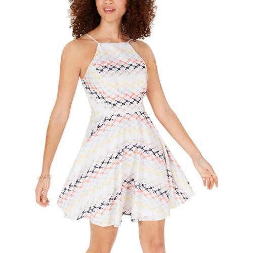 City Studio Womens Eyelet Halter Fit /& Flare Casual Dress Juniors BHFO 2179