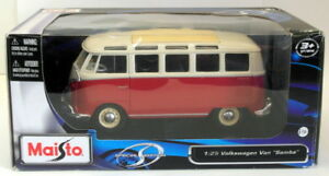 Maisto-1-25-Scale-Model-Van-31900-Volkswagen-Van-Samba-Cream-Red