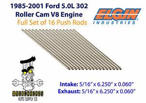 Elgin-PR366-Set-of-16-Ford-85-01-Roller-5-0L-V8-Engine-Push-Rods-5-16-034-x-6-250-034