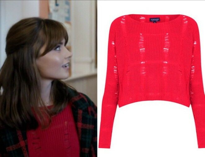 Topshop Red Ladder Ripped Crop Jumper Top Screen Accurate British Cosplay 10 6 S