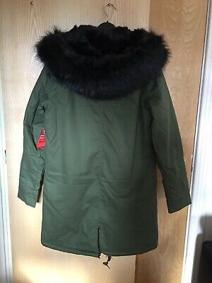 V By Very Faux Fur Trim Parka In Green Refreshing And Beneficial To The Eyes