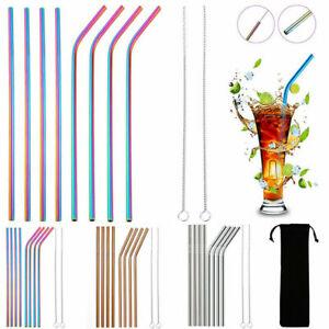 4-10x-Stainless-Steel-Drinking-Metal-Straw-Reusable-Bar-Straws-Cleaner-Brush-Kit