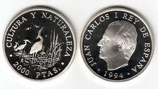 ESPAÑA 2000 Pesetas plata 1994 proof GARZA REAL - Cultura y Naturaleza