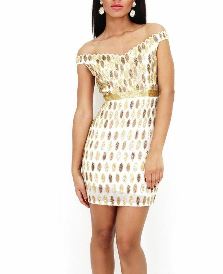 Virgos Lounge gold Embellished Bodycon Dress Bardot Mini Bridesmaid 6 to 16 New