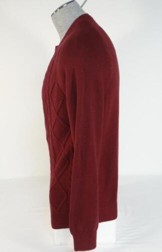Izod Burgundy Crewneck Cotton Knit Sweater Mens NWT