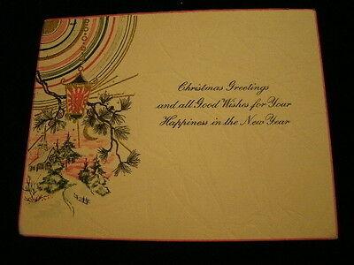 Vintage Art Deco Christmas Greeting Card Die Cut Hand Color Hanging Lantern A12N