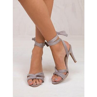 New Women's Billini Light Grey Suede Cacia Heels