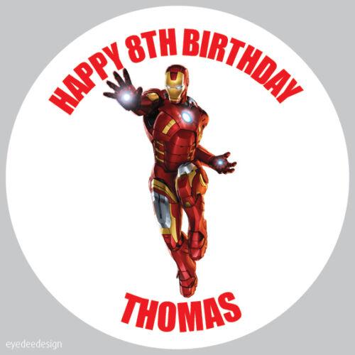 Personalizado Iron Man Marvel 37mm Cumpleaños Pegatinas Fiesta gracias Seals - 62