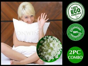 Twin-Pack-100-Natural-Eco-Latex-Cloud-Soft-Pillow-Cotton-Padded-Cover