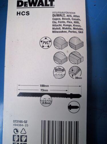 DEWALT DT2165 Pack of 5 T101B Jigsaw Blades for Wood T Shank HCS pitch 2.5