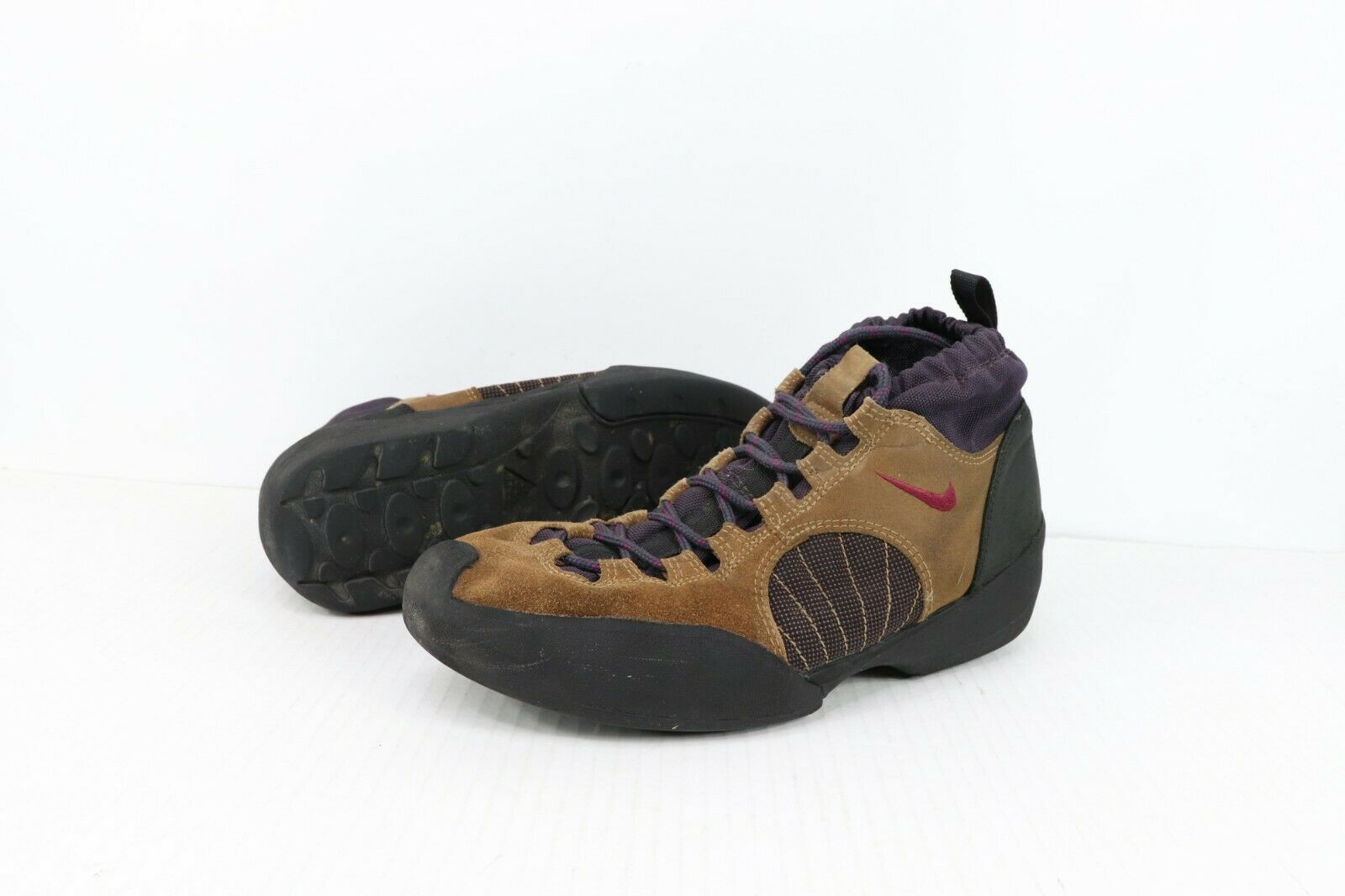 Vintage 90s Nike ACG Mens Size 12 Air Half Dome Leather Hiking Trail Boots Brown