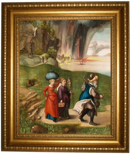 Durer Lot and His Daughters 1496 Gold Framed Canvas Print Repro 22x26