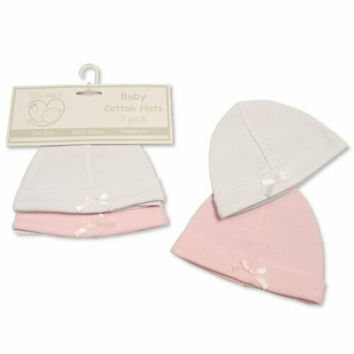 Tiny Baby Hats Premature Bow 2 Pack Unisex Neutral White Pink /& Blue 100/% Cotton