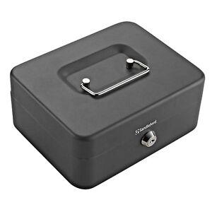 250-mm-Sandleford-Cash-Box-90-x-250-x-180mm-Black-with-Lock-amp-Key