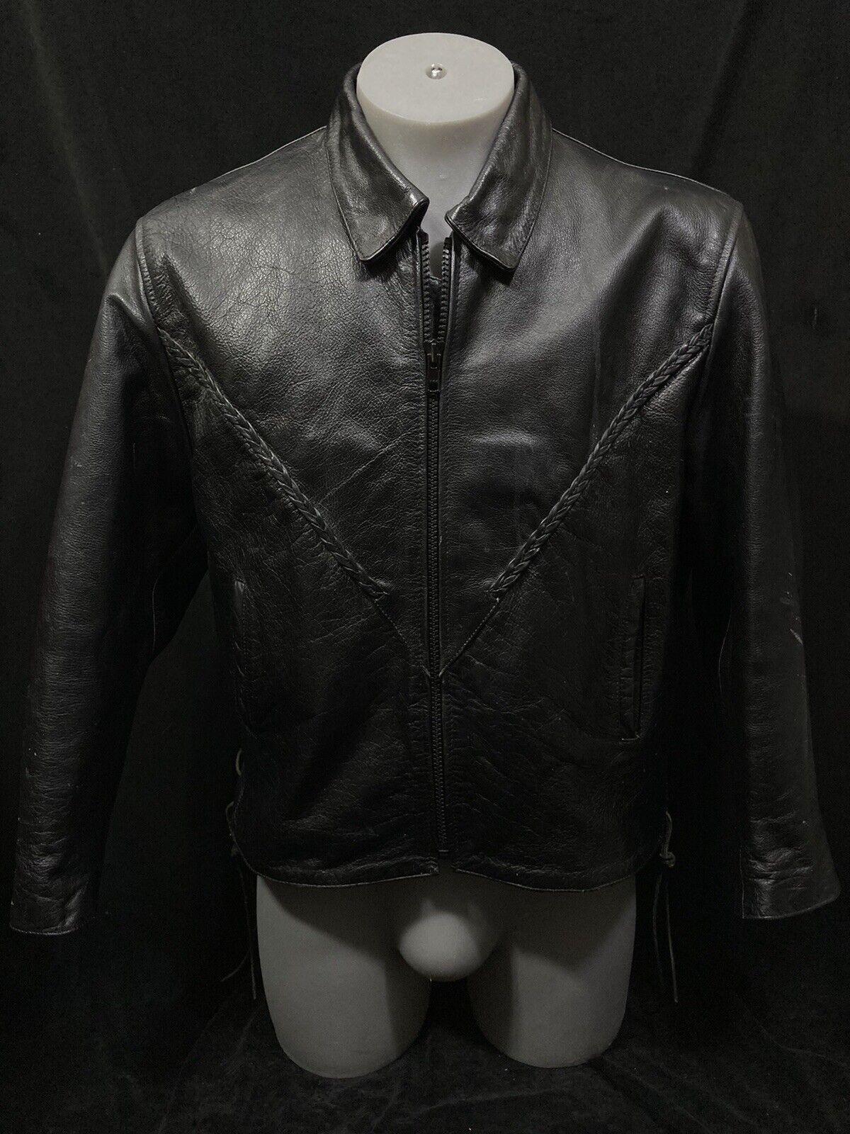 Mñnens Leather Jacket XXL UNIKS Genuine Car Coat Black Lined W Removable Liner