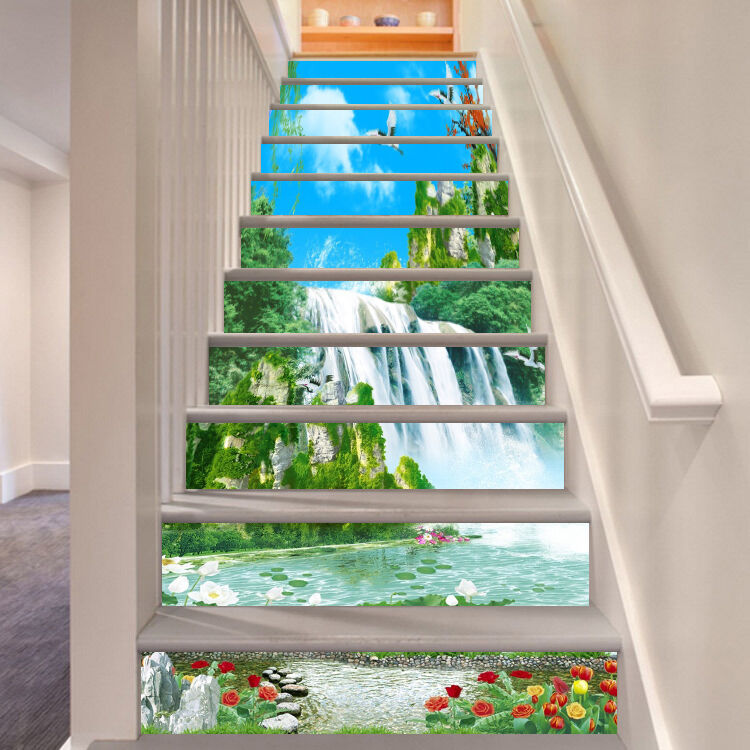 3D flower Bloom waterfall Risers Decoration Photo Mural Vinyl Decal Wallpaper CA
