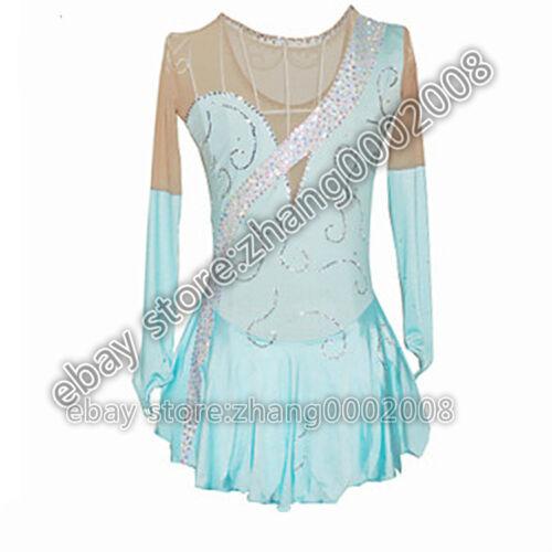 Ice skating dress.Competition turquoise Figure Skating Baton Twirling Costume