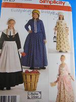 3725 Pilgram Early American Settler Colonial Dress Girl 7 8 10 12 14 Sew Pattern Craft Supplies