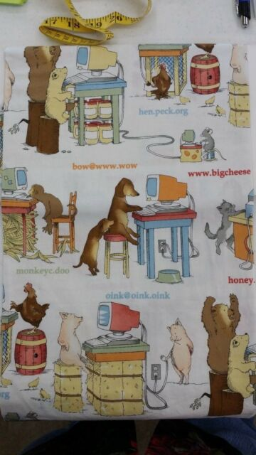 """ALEXANDER HENRY DOG CAT PIG COMPUTER NOVELTY PRINT COTTON 1 YD 44"""" FREE SHIPPING"""