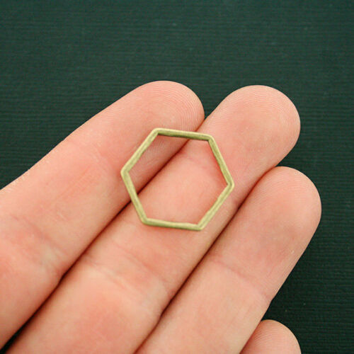 BC1684 8 Linking Ring Charms Antique Bronze Tone Hexagon 2 Sided Connector