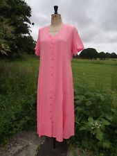 CLASSICS Peach Button Through Lightweight Fit & Flare Crinkle Dress Size 16 BNWT
