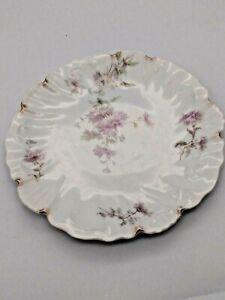 Antique-Limoges-A-Lanternier-France-Floral-White-8-034-Ruffled-edge-dessert-plate