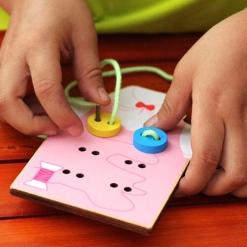 Kids Montessori Educational Toy Beads Lacing Board Wooden Toys Gift For Children