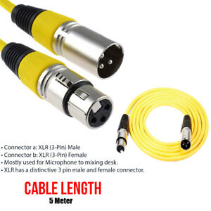5M-Microphone-Mic-Lead-3-Pin-Male-to-Female-Plugs-XLR-Patch-Audio-Cable-Yellow