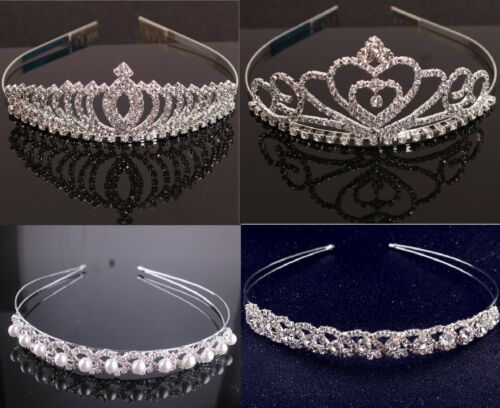 Crystal Rhinestone Wedding Bridal Diamante Crown Tiara Headband Hair Band Gift