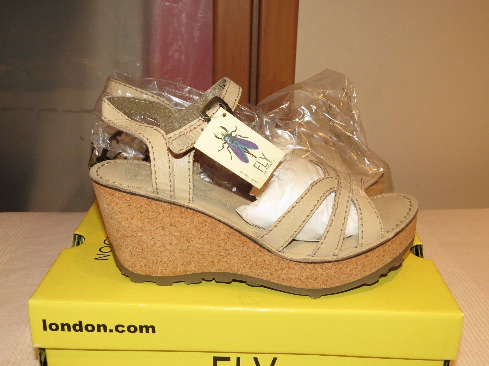 FLY FLY FLY LONDON GORT645FLY LEATHER PLATFORM WEDGE SANDALS UK 8 EUR 41 BNIB cd4d90