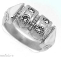 Four Crystal St. Matte 18kt White Gp Ring Size 8 1/4