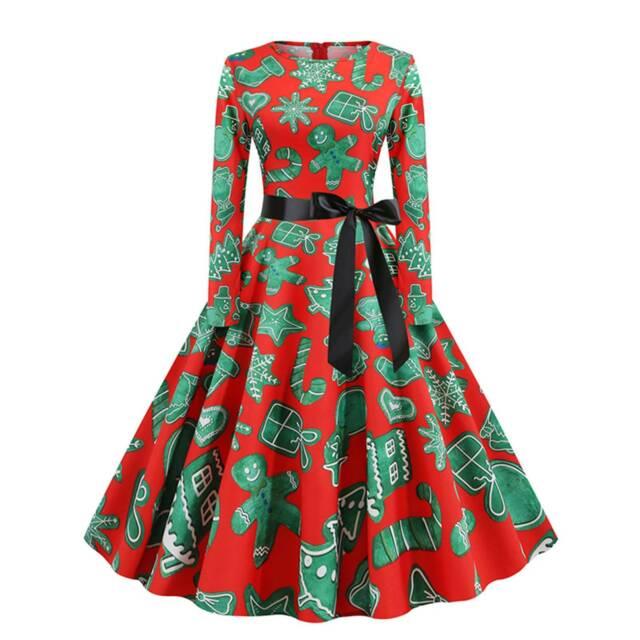 Women Christmas Vintage Long Sleeve Dress Xmas Winter Swing Skater Party Dresses