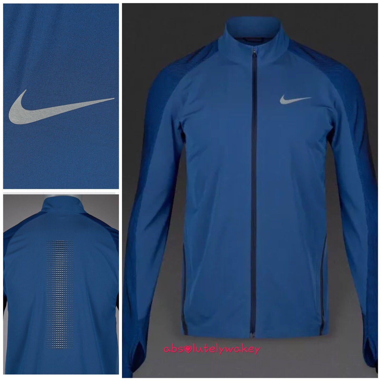 Nike Herren Twill Laufen Stadion Jacke Wasserabweisend Obsidian   Reflec Silber