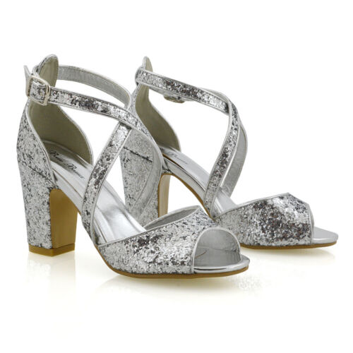 Womens Strappy Sandals Mid Low Heel Sparkly Ladies Bridal Party Shoes Size 3-8