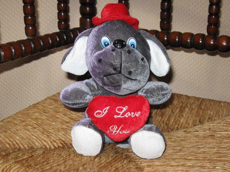 Bert Struis Holland årgång Valentine Jag älskar dig Plush hund