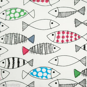 By the yard 100 cotton fabric fish print white sewing for Fish fabric by the yard