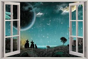 Huge-3D-Window-view-Witches-amp-Cats-Wall-Sticker-Film-Mural-Art-Decal-179