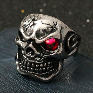 Men-039-s-Huge-Gothic-Skull-Ruby-Red-CZ-Eye-Cigar-Stainless-Steel-Biker-Ring-Silver