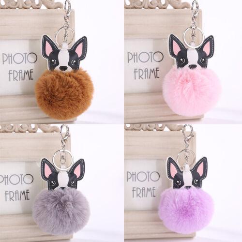 CutePlush Keyring Fluffy Key Chain Dog Rabbit Fur Handbag Car Pendant Key Buckle