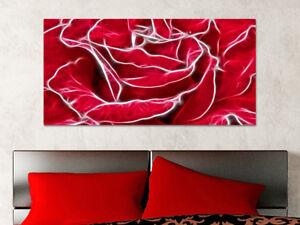 Quadro moderno stampa su tela cotone cm rosa rossa fiori