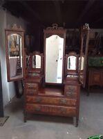 Art Nouveau Antique Mahogany Triple Mirror Dressing Table
